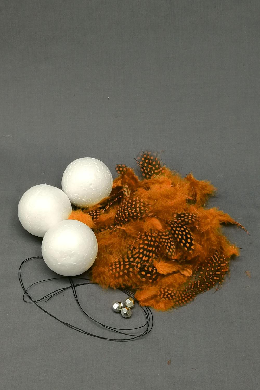 Bastelset Kugel Perlhuhnrupf orange
