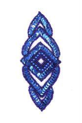 Raute blau mit blauen Perlen ca. 15x6cm