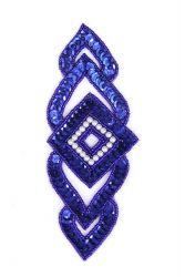 Raute blau mit weißen  Perlen ca. 15x6cm