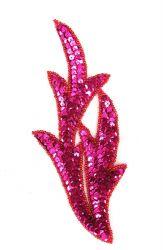 Perlenschwinge pink mit roten Perlen links ca. 19x8cm