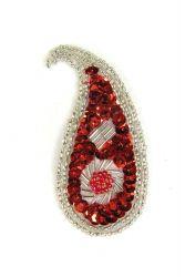 Perlentropfen rot mit hellen Perlen links ca. 7x3cm