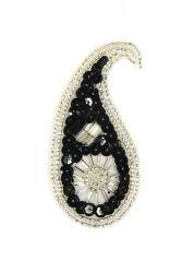 Perlentropfen schwarz mit hellen Perlen rechts ca. 7x3cm