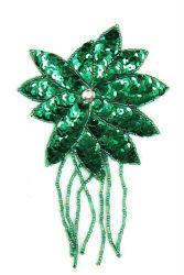 Blüte mit Perlenschnur grün ca. 8x13cm