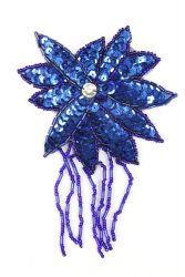 Blüte mit Perlenschnur blau ca. 8x13cm
