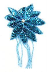 Blüte mit Perlenschnur türkis ca. 8x13cm