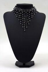 Perlenfransen-Collier schwarz-silber