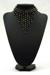 Perlenfransen-Collier schwarz-gold