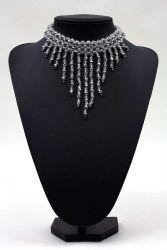 Perlenfransen-Collier kristall-silber