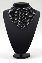 Perlenfransen-Collier schwarz-silber rund
