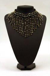 Perlenfransen-Collier schwarz-gold rund