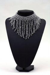 Perlenfransen-Collier kristall-silber rund