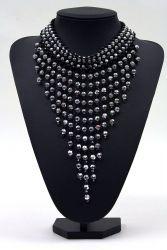 Perlenfransen-Collier groß schwarz-silber