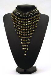 Perlenfransen-Collier groß schwarz-gold