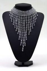 Perlenfransen-Collier groß kristall-silber