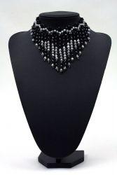 Pfauen-Collier schwarz-silber