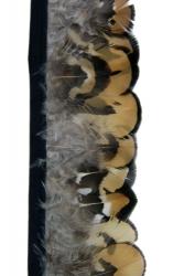 Königsfasanfederborte ocker-schwarz