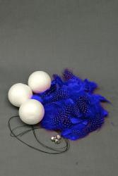 Bastelset Kugel Perlhuhnrupf blau