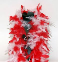 Feather Boa 200F red-white mixed, 1.8m long
