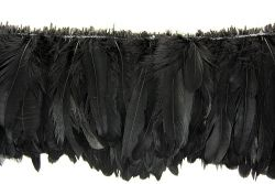 Cock Tails 15-20cm black, Strung Rowed